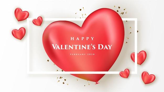 Felice san valentino banner con cuori realistici