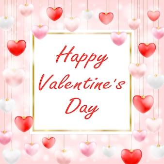 Felice san valentino con appeso cuore d'amore
