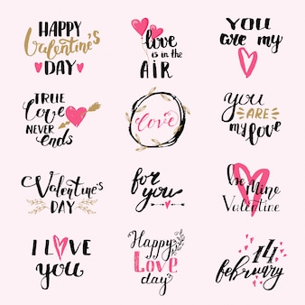 Felice san valentino insieme di lettere. tu sei il mio amore l'amore è nell'aria. ti amo.