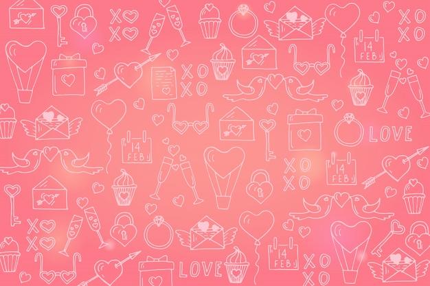 Felice san valentino sfondo con simboli di amore disegnati a mano per san valentino.