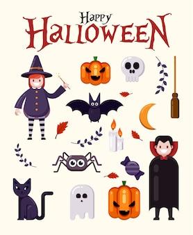 Felice set di elementi di halloween