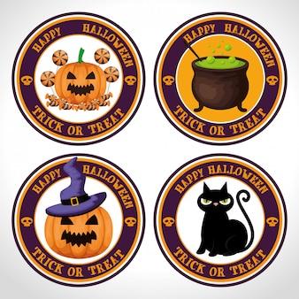 Felice set di etichette di halloween