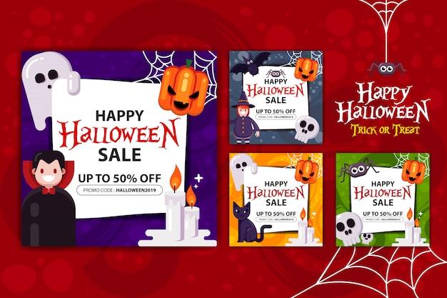 Felice set di promozione banner halloween