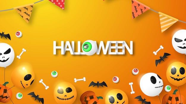 Felice sfondo 3d di halloween con palloncino, occhio, zucca e osso