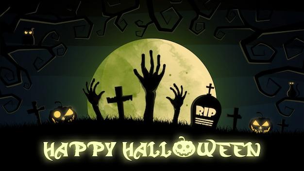 Felice sfondo di halloween con cimitero