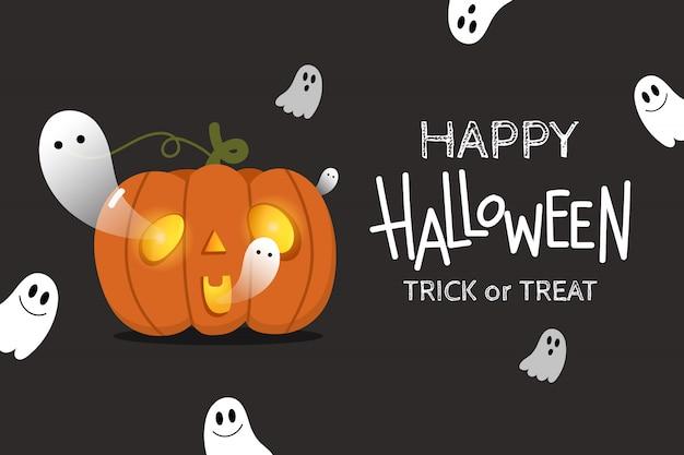 Felice sfondo di halloween con simpatici fantasmi spettrali e zucca spaventosa.