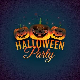 Felice sfondo di halloween con zucche malvagie