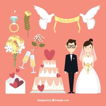 Felice sposi con oggetti decorativi