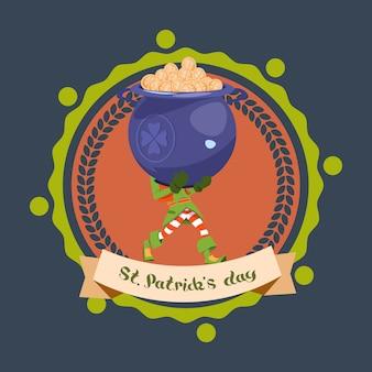 Felice st patricks day template logo leprechaun man hold big pot con monete d'oro