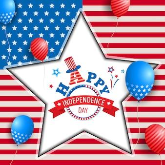 Felice star cornice giorno dell'indipendenza