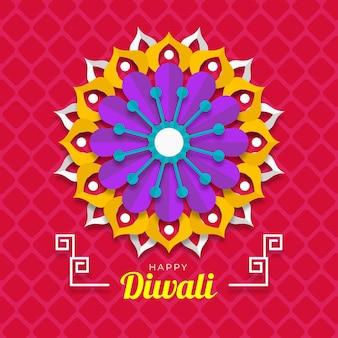 Felice stile di carta fiore diwali