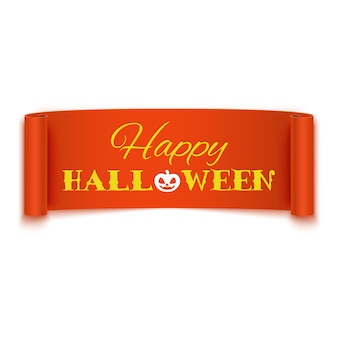 Felice testo di halloween sulla bandiera del nastro arancione realistico