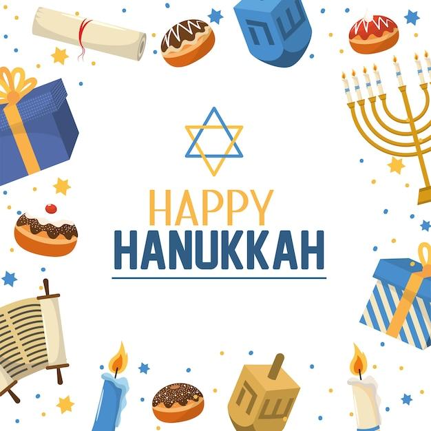 Felice tradizione hanukkah con stella di david