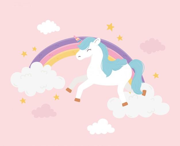 Felice unicorno arcobaleno nuvole cielo fantasia magia sogno simpatico cartone animato rosa sfondo illustrazione