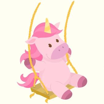 Felice unicorno su un'altalena