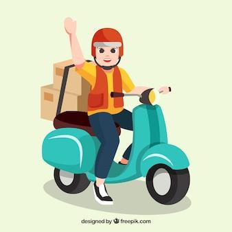 Felice uomo di consegna con casco sullo scooter