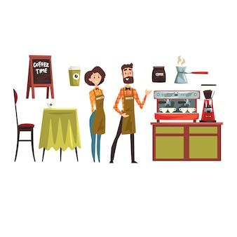 Felice uomo e donna barista indossando camicie a quadri. set con elementi di design di attrezzature da bar tavolo, sedia, tazze e tazze, macchina per il caffè, cezve.