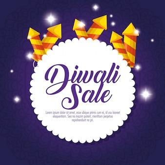 Felice vendita di diwali con fuochi d'artificio