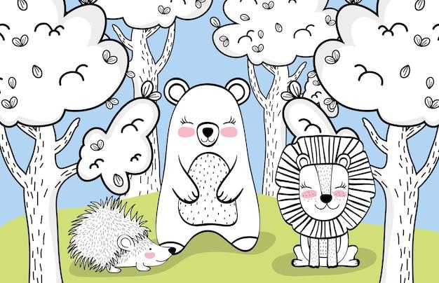 Felici amici di animali selvatici con alberi