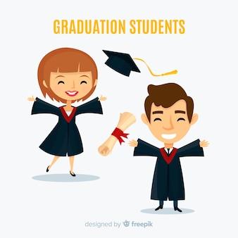 Felici studenti che si diplomano con design piatto