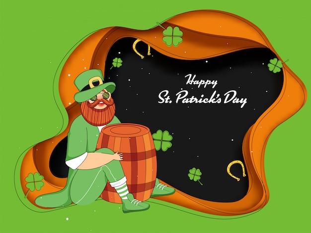 Felicità leprechaun uomo che tiene il barilotto in posa seduta con foglie di trifoglio e ferro di cavallo su strato di carta verde e arancione tagliato, felice st. carta del giorno di patricks