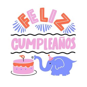 Feliz cumpleaños tema lettering