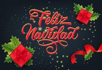 Feliz Navidad design delle carte festive. regali di Natale