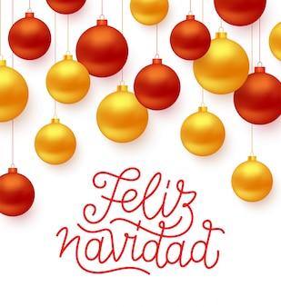 Feliz navidad spagnolo merry christmas linea arte stile lettering testo con rosso e oro