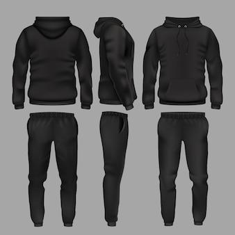 Felpa e pantaloni sportivi uomo nero. abbigliamento sportivo con felpa con cappuccio, pantaloni maschili di moda e pantaloni sportivi