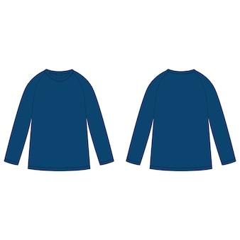 Felpa raglan di colore blu navy con disegno tecnico. modello di disegno del ponticello di usura dei bambini. vista anteriore e posteriore.