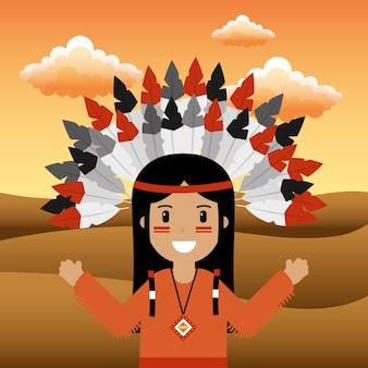Femmina nativo americano con copricapo piumato
