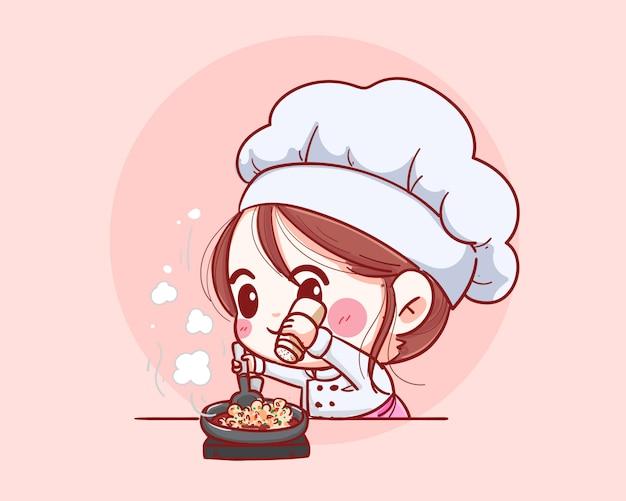 Femmina sorridente del cuoco unico. lo chef donna sta cucinando il divertimento. illustrazione disegnata a mano
