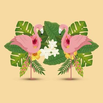 Fenicotteri animali rosa con foglie di natura
