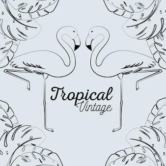 Fenicotteri tropicali con piante di foglie esotiche