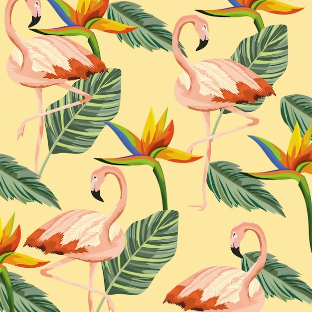Fenicotteri tropicali con sfondo di fiori e foglie