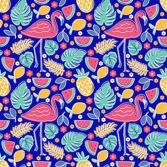 Fenicottero frutta tropicale ananas limone anguria con fiori di monstera e fogliame seamless pattern