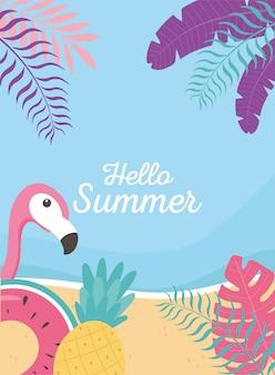 Fenicottero galleggiante ananas spiaggia esotiche foglie tropicali, ciao estate lettering illustrazione