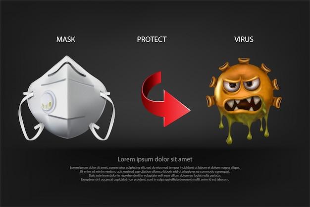 Ferma da mask protection. le cellule del virus covid-19 o corona virus e batteri si chiudono su isolato su fondo, vettore e illustrazione neri.