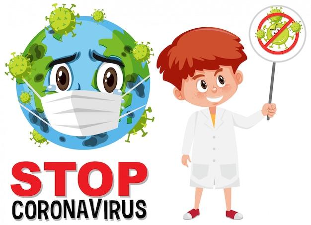 Ferma il logo del coronavirus con il personaggio dei cartoni animati della maschera che indossa la terra e il medico che tiene il segno di avvertimento del coronavirus