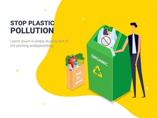 Ferma inquinamento plastico. sacchetti di plastica dell'immondizia in pattumiera con carattere uomo