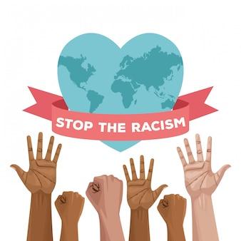 Ferma la carta del giorno internazionale del razzismo con il pianeta mani e cuore