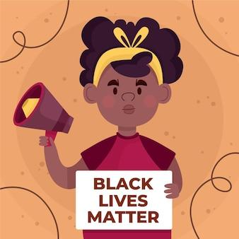 Ferma la ragazza del concetto di razzismo con il megafono