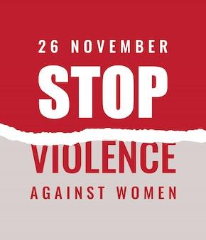 Ferma lo slogan sulla violenza contro le donne con carta strappata su sfondo rosso.