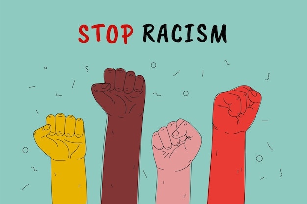 Ferma lo stile dell'illustrazione del razzismo