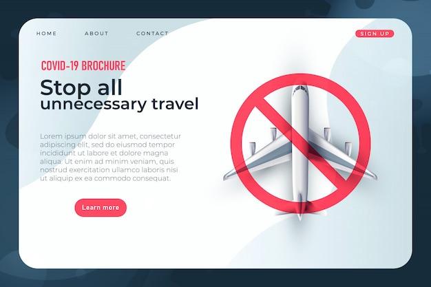 Ferma tutti i viaggi inutili, opuscolo covid 19 con illustrazione realistica dell'aereo 3d. modello di pagina di destinazione
