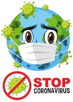 Fermare il segno prohitbit del coronavirus con l'attacco del personaggio dei cartoni animati della terra da parte del coronavirus