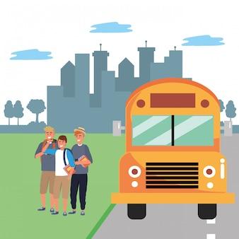 Fermata dell'autobus per gruppi di studenti diversi