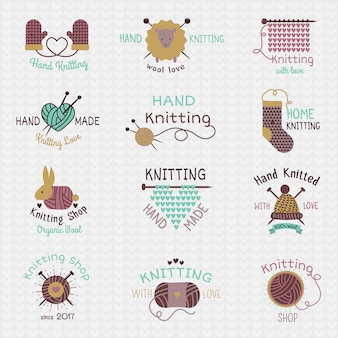Ferri da maglia logo maglieria in lana o calzini di lana a maglia logotipo all'uncinetto materiali lanosi e maglieria illustrazione isolato su sfondo bianco