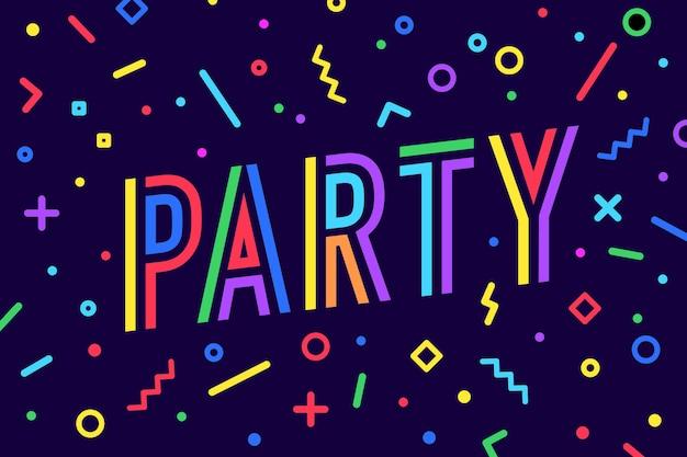 Festa. biglietto di auguri, banner, poster e tipografia scritta, stile geometrico di memphis con testo party per banner, poster, fyer, web. carta di lettere, invito modello di festa.