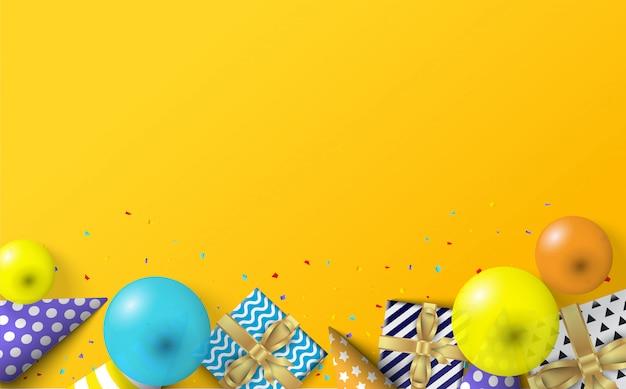 Festa con illustrazioni di palloncini, cappelli di compleanno e scatole regalo.